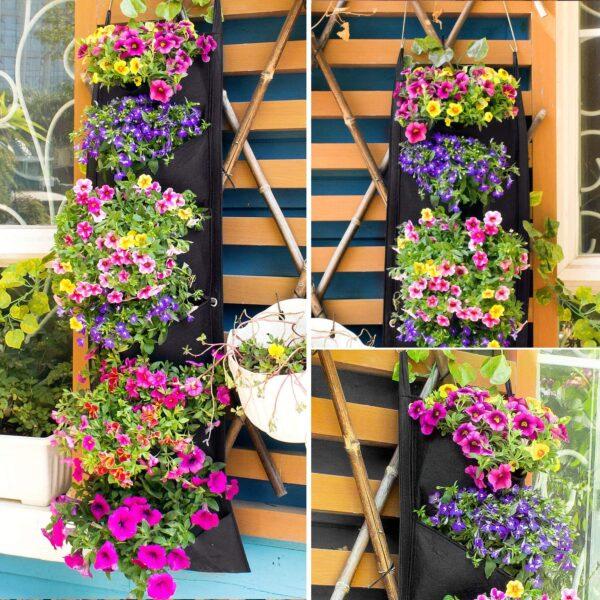 NEW DESIGN Vertical Hanging Garden Planter Flower Pots Layout Waterproof Wall Mount Hanging Flowerpot Bag Indoor Outdoor Use