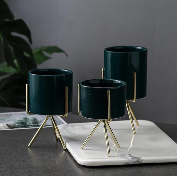 Pop Nordic Style Ceramic Flower Pot Planter Iron Frame Plant Holder Green Plant Flower Pot Desk Office Decoration Ornament