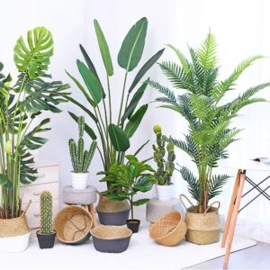 220cm Tropical Plants Large Artificial Palm Tree Green Plastic Palm Leaves Indoor Fake Monstera Tree For Home Office Shop Decor