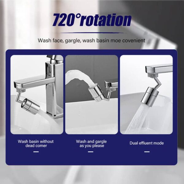 720 Degrees Universal Splash Filter Faucet Spray Head Anti Splash Filter Faucet Movable Kitchen Tap Water Saving Nozzle Sprayer