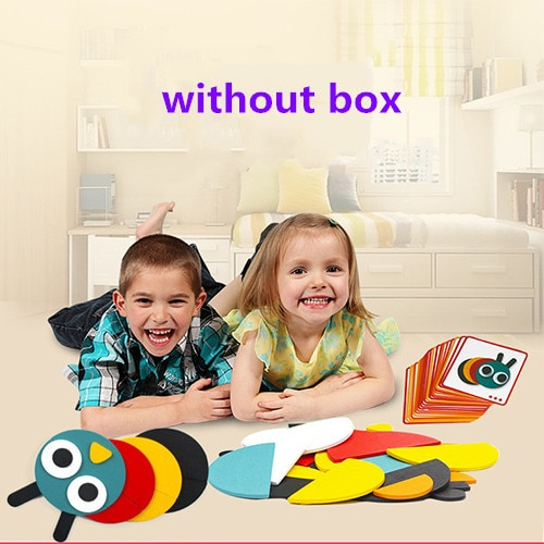 juguetes tangram jigsaw 3d animals Puzzle Kids Wooden Toys For children games Creative Puzzles Early Learning educational toys