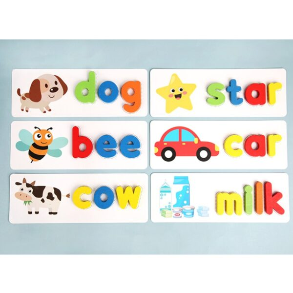 Montessori Spell word game Wooden Toys Early Learning Jigsaw Letter Alphabet Puzzle Preschool Educational Baby Toys for Children