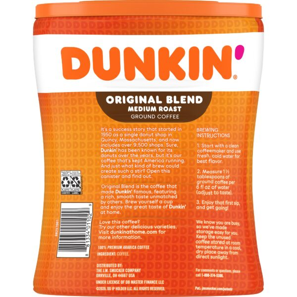 Dunkin' Original Blend, Medium Roast Coffee, 30-Ounce Canister (Packaging May Vary)